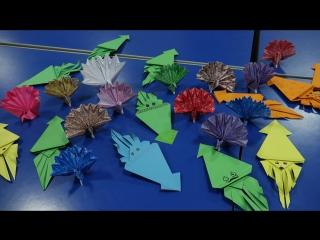 Клуб оригами 折り紙のクラブ (собираем кальмара и павлина)
