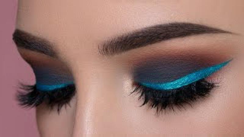 Dark Gray Smokey Eye Shimmery Blue Eyeliner Makeup Tutorial