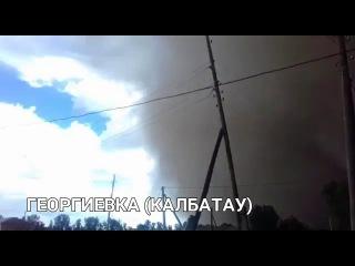 Сильнейшая пыльная буря накрывает Казахстан. Село Георгиевка Калбатау, Казахст ...