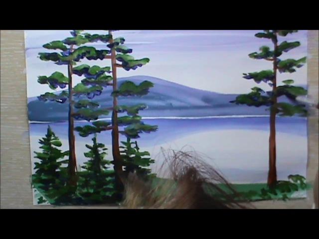 мастер-класс: Простой этюд гуашью Уральский пейзаж