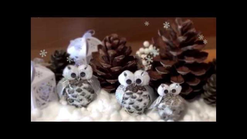 Украшение Сова из сосновой шишки Decoration of the Owl from a pine cone
