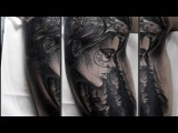 Portrait of a forest girl-Tattoo time lapse