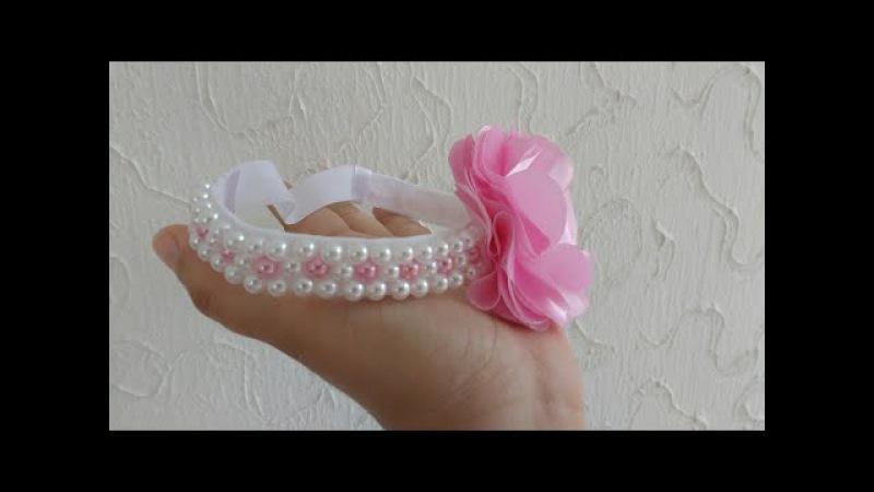 Como bordar tiara com pérolas