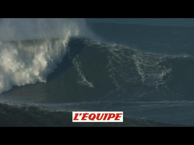Adrénaline - Surf : Benjamin Sanchis surfe une énorme vague à Nazaré
