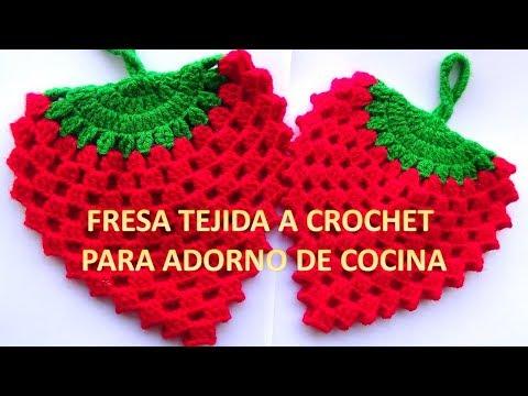 FRESA A CROCHET N° 4 paso a paso para agarraderas de ollas o adorno de cocina