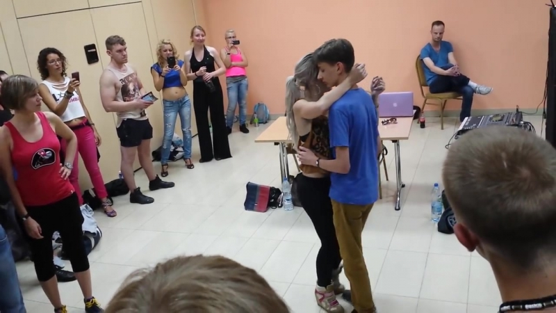Sara Lopez with young 16 years old boy dancing kizomba