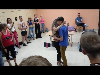 Sara Lopez with young 16 years old boy dancing kizomba