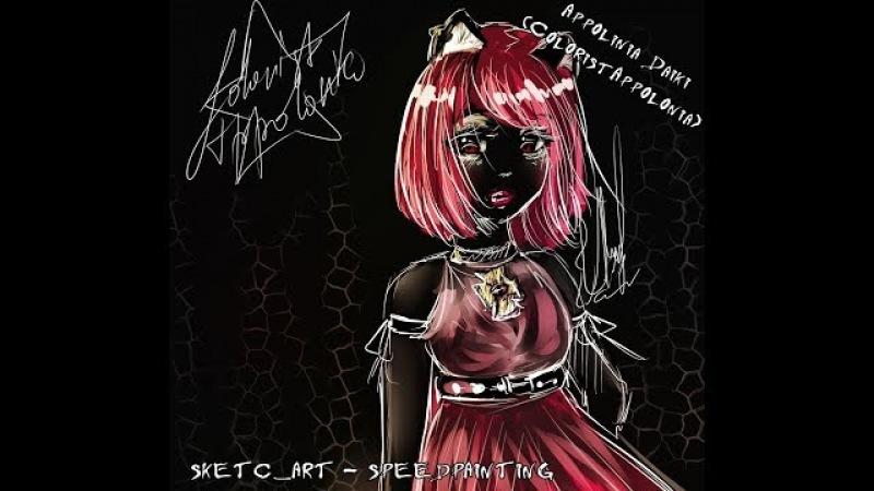Catty Noir|Кетти Нуар (MonsterHigh) - SKETCH_ART - SPEEDPAINT by Appolonia Daiki(ColoristAppolonia)