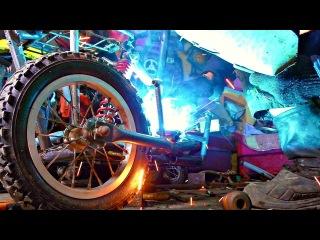 Лютый КреоЦикл из табурета и бензопилы Самодельный мопед с коляской