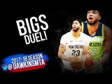 Karl-Anthony Towns vs Anthony Davis BiGS Duel 2018.2.3 - AD With 38 , KAT With 22, 16! | FreeDawkins