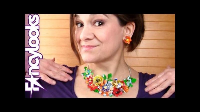 DIY Collar supercolorido de latas de refresco