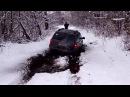 Jeep WJ Красивый провалился под лёд в грязь на мосты, куски льда блокируют движение.