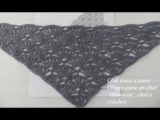 """Шаль Chal paso a paso 1. Dibujo para un chal """"Abanicos"""", chal a crochet №58"""