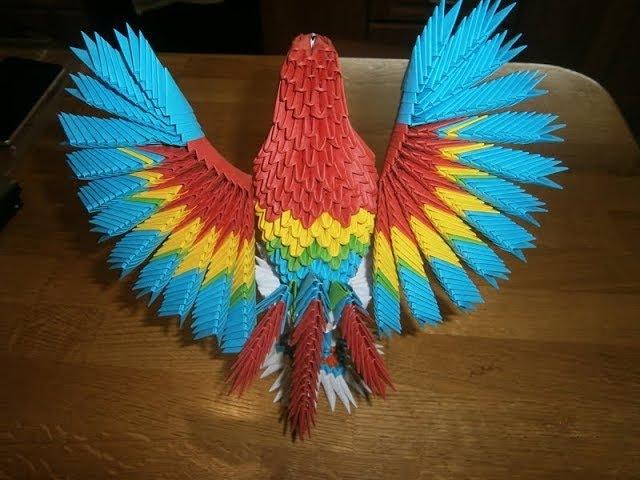 Модульное оригами. Попугай из оригами модулей