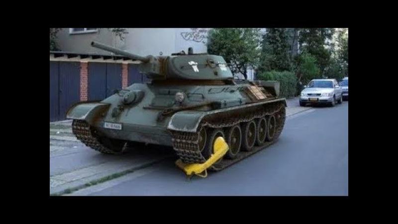Реакция иностранцев на угон танка пьяным русским CRAZY RUSSIA