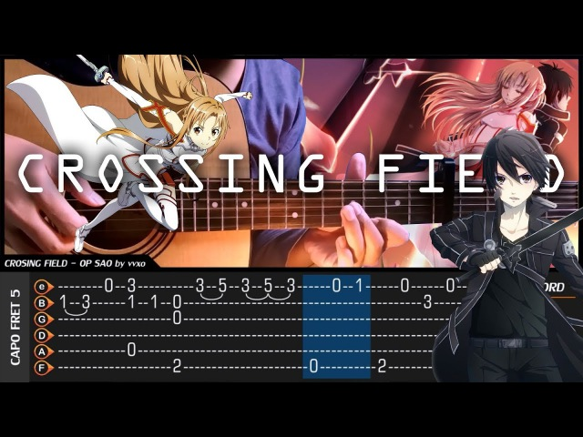 Sword Art Online OP - CROSSING FIELD - Cover (Fingerstyle Cover) TAB CHORD Tutorial (Lesson)