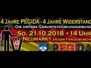 PEGIDA Geburtstag am SONNTAG 21.10.2018 um 14 Uhr in DRESDEN auf dem NEUMARKT vor der FRAUENKIRCHE.