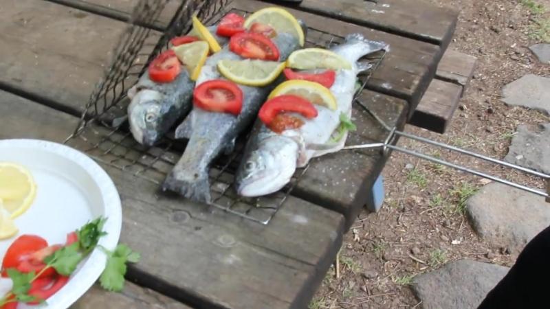 Форель на мангале. На пикник. Жарим рыбу на огне. Моя Dolce vita