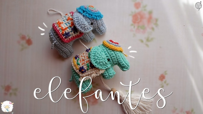 Colgante de elefantes a crochet | ENGLISH SUBTITLES