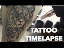TATTOO TIME LAPSE LION AND REALISTIC ROSE PORTRAIT CHRISSY LEE TV