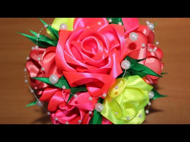 МК РОЗЫ , мастер класс розы своими руками из атласных лент