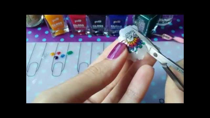 Tie-dye stamping mani, gradient tints - Реверсивный стемпинг, градиент, акварельные краски