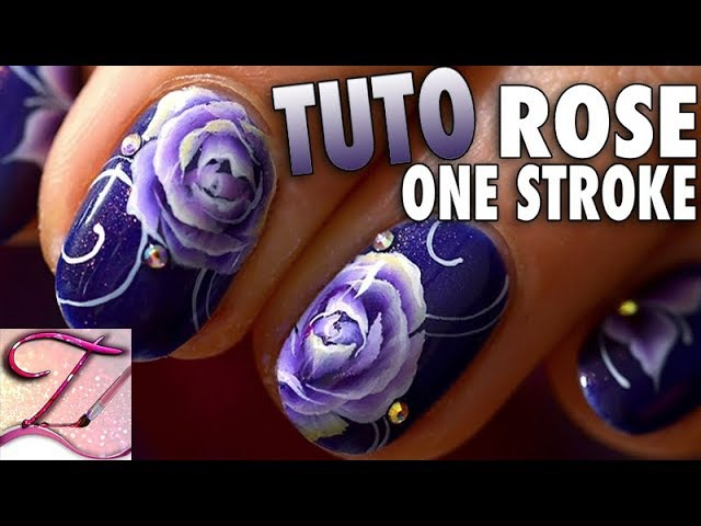 Tuto nail art rose one stroke ongles courts
