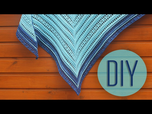 Вяжем бактус шаль крючком. How to crochet a baktus-shawl