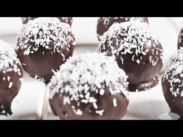 Bombones de coco y chocolate en 10min y sin horno.super fácil.