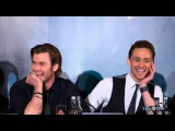 Tom Hiddleston singing If I Had A Hammer during an interview with Chris in Berlin