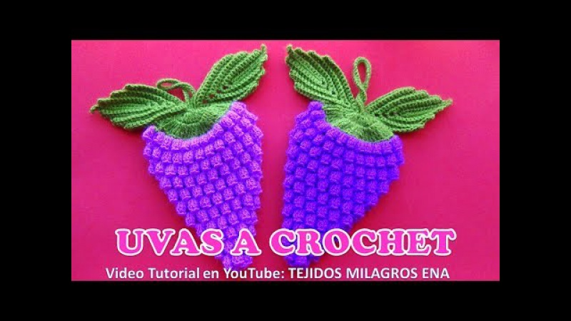 Uvas a crochet paso a paso para AGARRADERAS DE OLLAS O ADORNOS en video tutorial español