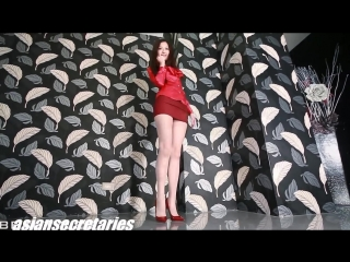 Sexy asian secretary in red mini skirt and pantyhose 4