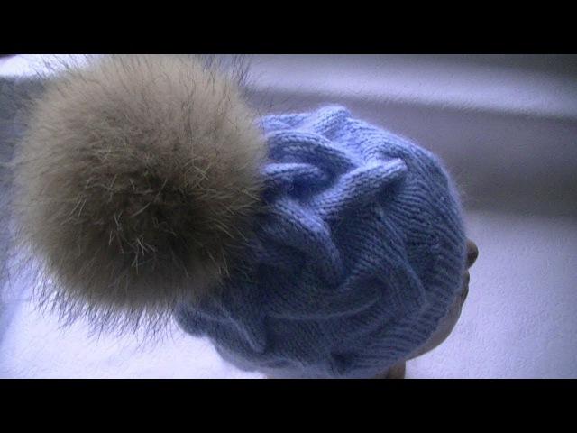 Вязание шапки узором коса с тенью с 18 петель