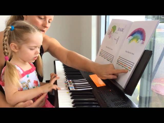 Piano Lesson with 3yo toddler. Tutorial how to use Piano Games Books by Natasha Mikhaylova