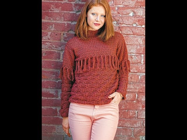 Вязание крючком. Терракотовый свитер. УЗОР.