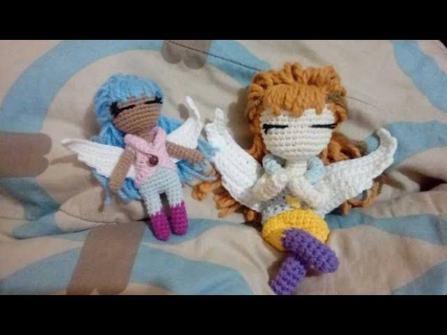 COMO TEJER BRAZOS Y HACER ARMADO DE MUÑECA ANGEL AMIGURUMI A CROCHET 24