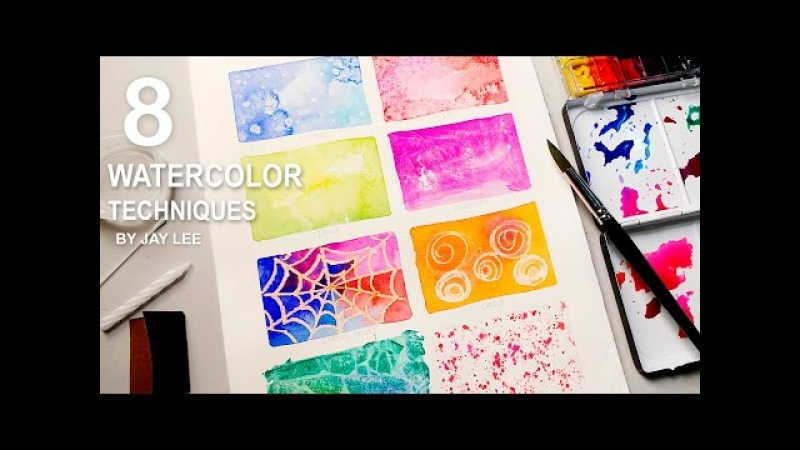 8 Watercolor Techniques for Beginners   Easy Basic Fun Art