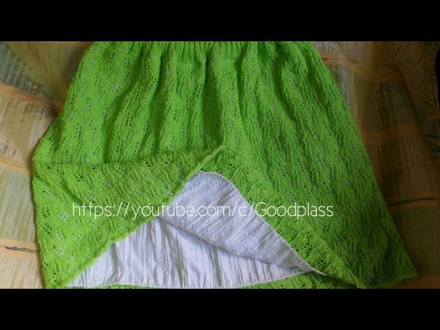 Ажурная женская юбка вязаная спицами по кругу. Часть 1