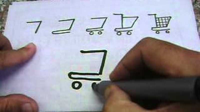 Drawing shopping trolley with letter 7