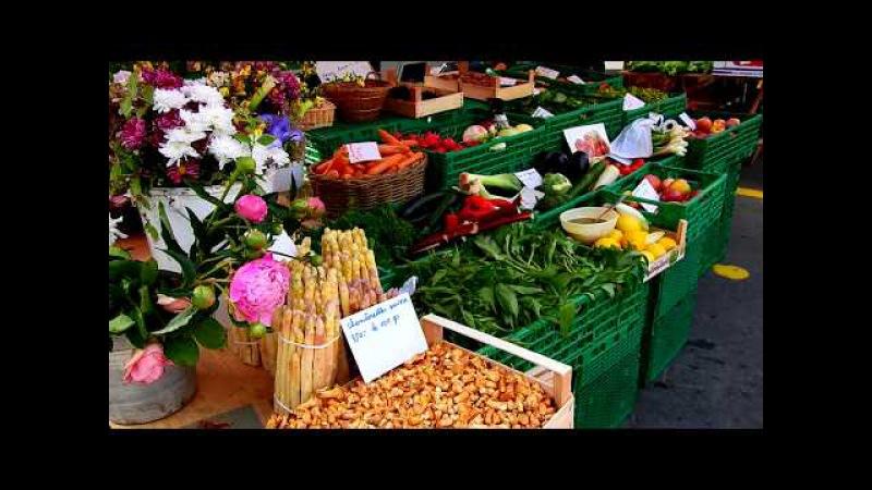 Market in Vevey, Switzerland. Рынок в Веве, Швейцария