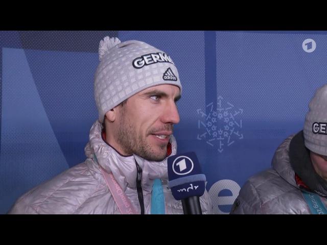 OG-2018. Erik, Benedikt, Arnd and Simon after medal ceremony