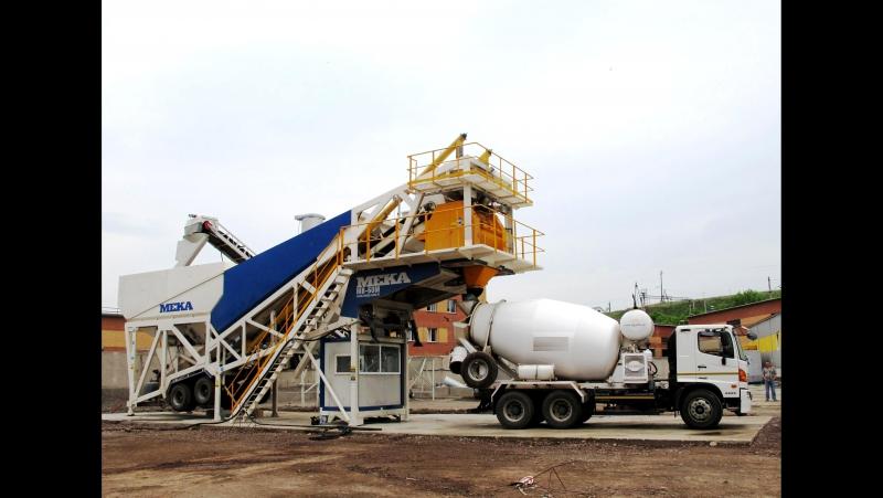 Работа мобильного бетонного завода MEKAMIX-60-M