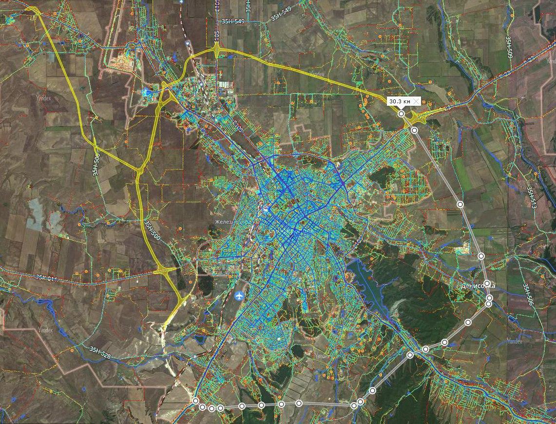 Симферопольская окружная автодорога. Желтый - строящийся участок, серый - проектирование.