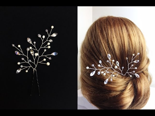 Easy How To DIY Crystal Pearls Pin Hair Accessory Hair Vine Twig Comb Tutorial
