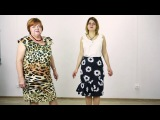 Обзор юбки ниже колена с воланом Модель прямой юбки с красивым воланом из ткани крупными цветами