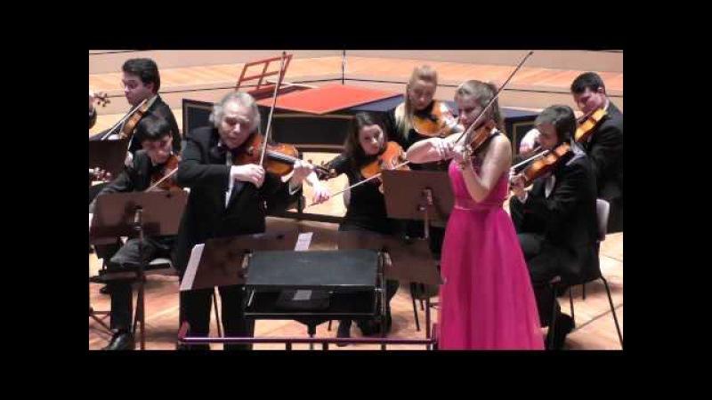 Zakhar Bron und Milena Wilke spielen 5 Stücke für 2 Violinen und Streichorchester