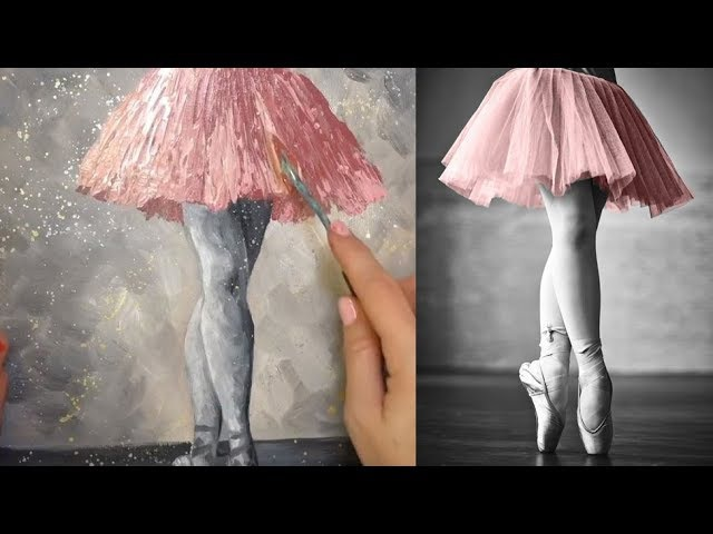 Ballerina Palette Knife Tutorial LIVE Step by Step Acrylic Painting