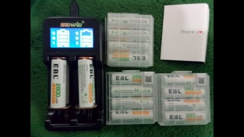 EBL 16 Pack AA 2800mAh Rechargeable Batteries with Battery Storage Case 23.99