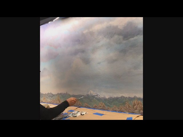 Model Train Backdrop painting time lapse video February 2018