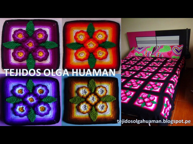 Tejidos a crochet paso a paso: muestra 5 flores para colchas video 2